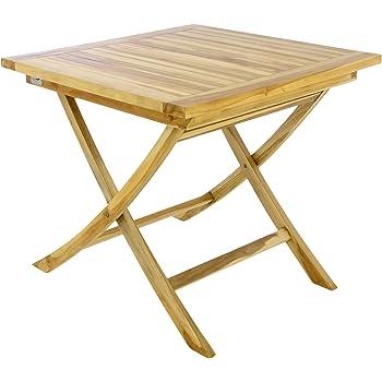 Amazon De Divero Balkontisch Gartentisch Beistelltisch Teak Holz
