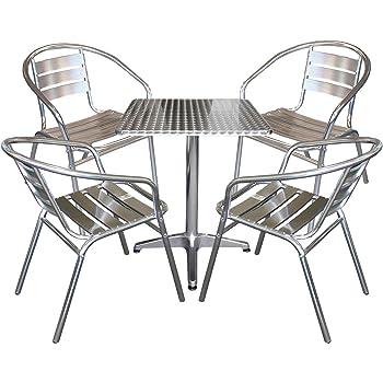Multistore 2002 5tlg Balkonmöbel Terrassenmöbel Bistro Set 4x Aluminium Bistrostuhl Stapelstuhl + Bistrotisch 60x60cm Sitzgruppe Sitzgarnitur Gartenmöbel Gartengarnitur Bistromöbel