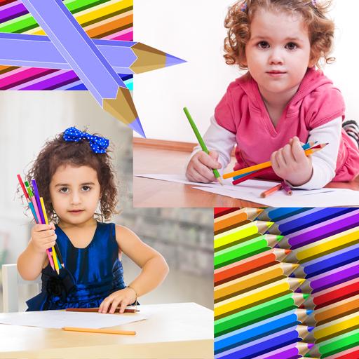 Farbige Bleistifte Foto Collage -