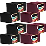 Kuber Industries 8 Piece Non Woven Fabric Saree Cover Set with Transparent Window, Extra Large, Maroon & Black-CTKTC031946, S