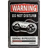 Nostalgic-Art Targa Vintage Achtung – Gaming in Progress – Idea Regalo per Giocatori, in Metallo, Design Retro per Decorazion
