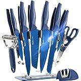 Wanbasion Bleu Bloc de Couteaux de Cuisine avec Support Acrylique, Set de Couteaux Cuisine en Acier Inoxydable, Couteau Cuisi
