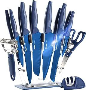 Wanbasion Blue Kitchen Knife Block Set Acrylic High Quality Sharp Knife Set Kitchen Stainless Steel Chef S Knife Premium Knife Block With Knife Set Professional Dishwasher Safe Küche Haushalt
