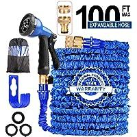 AILUZE 100FT Expandable Garden Hose Pipe-Magic Garden Hose with 8 Function Spray Gun/Storage Bag/Hose Holder,Lightweight Flexible Water Hose 1/2'3/4 Brass Fitting,Anti-leakage for Garden,Home(Blue)