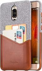 lopie Cover Huawei Mate 9 Pro, [Sea Island Cotton Series] Custodia Huawei Mate 9 Pro [Tessuto e Vera Pelle] [Porta Carta di Credito] Wallet Shell per Huawei Mate 9 Pro - Marrone Chiaro