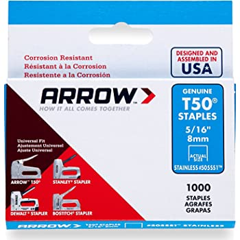 Arrow ARRT50516SS 8mm 5/16-inch Stainless Steel Staples (Box of 1000)