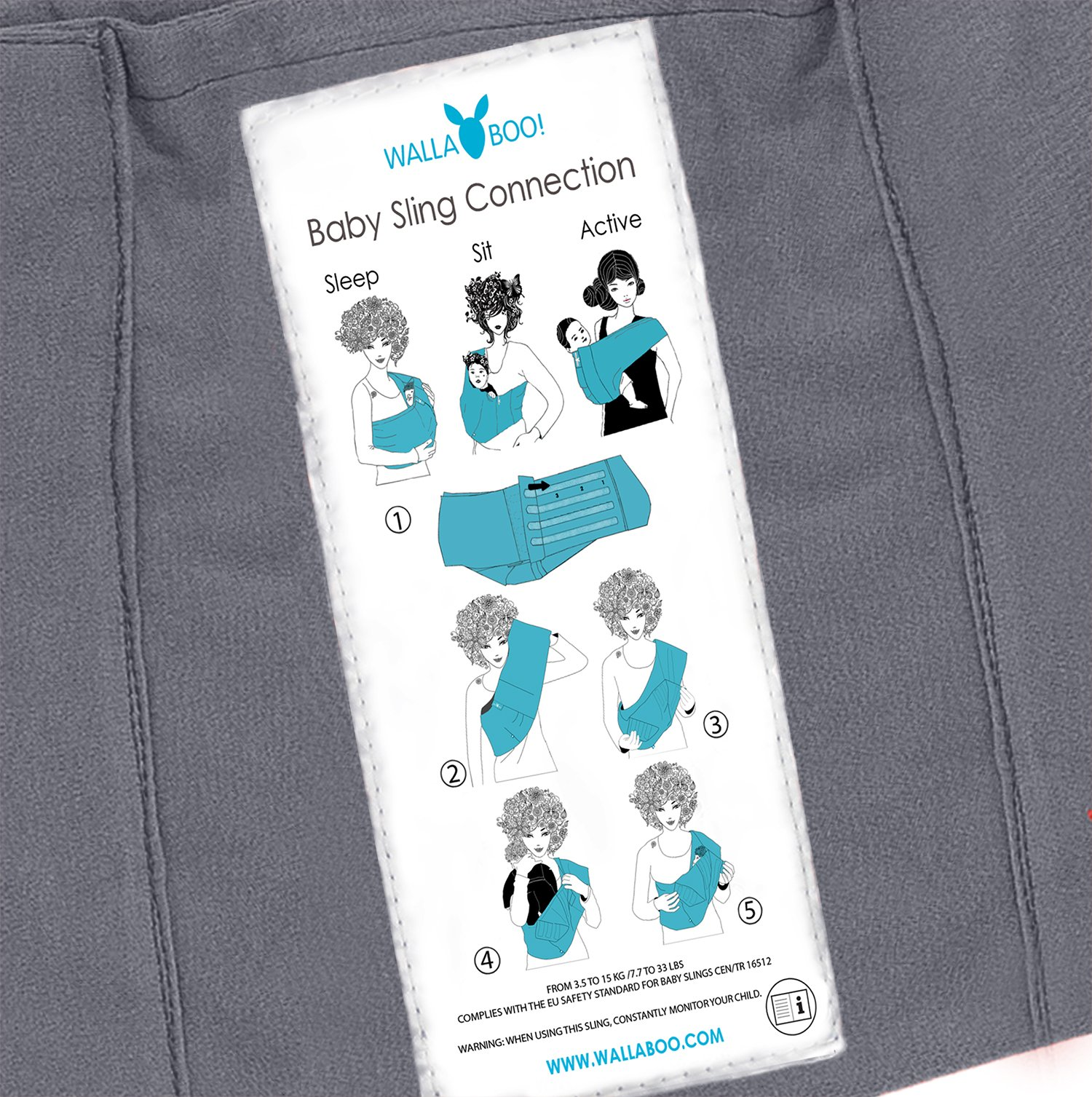Wallaboo Wrap Sling Carrier Connection, Easy Adjustable, Ergonomic, 3 Carrying Positions, Newborn 8lbs to 33 lbs, Soft Breathable Cotton, 3 Sitting Positions, EU Safety Tested, Color: Grey / Silver Wallaboo Ergonomically correct design with three natural positions: sleep, sit and active- one size fits all Can be used from premature baby through to 33lbs - with easy-to-use features like a full-front opening and an adjustable back Single piece of fabric, no straps, belts or buckles - partly padded to give extra comfort- no wrapping, no hardware. ready to wear 10