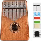 TOPDÉCORÉ Kalimba 17 Clés Pouce Doigt Piano Portable Instrument de Musique avec Accessoires,Kalimba instrument avec tuning ha