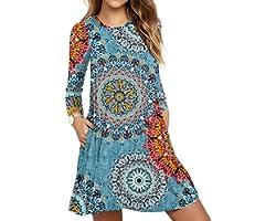 PCEAIIH Women's Sleeveless/Long Sleeve Pockets Casual Swing T-Shirt Summer Dress