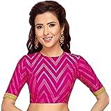 STUDIO Shringaar Hot Pink Benaras Brocade Readymade Saree Blouse With Elbow Length Sleeves