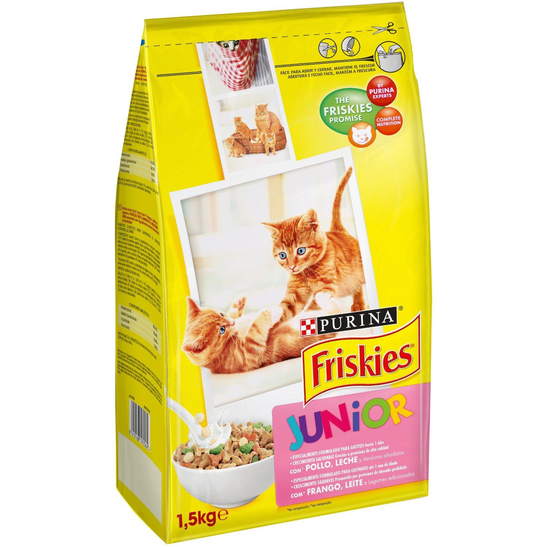 Friskies – Gato Junior con Pollo, Leche y Verduras añadidas, 1,5 Kg