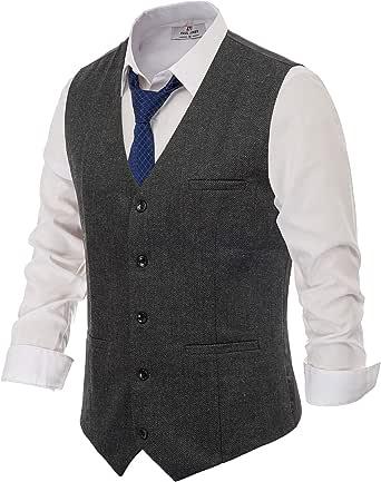 PAUL JONES Men's British Herringbone Tweed Vest Premium Wool Waistcoat, Dark Grey, S