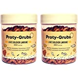 PROTYGRUBSLive Soldier Fly Larvae for Fish - Fish Food for Arowana, Flowerhorn, Oscar, Parrot and Other Carnivorous Fish (La