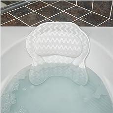 Bath Haven Badewannenkissen Luxuriöses Nackenkissen Badewanne, Wannenkissen - Schnell Trocknendes Badekopfkissen, Maschinenwaschbar - Inklusive Waschbeutel Und Reisetasche – Weiß