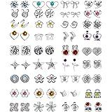 36/42/44 paia assortiti multipli orecchini a perno set di gioielli con carta per le donne ragazze semplice orecchini a cerchi