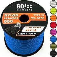 GO!elements Paracord 100 Metri da Corda Nylon - 4mm Paracord 550 Originale Typ III - Adatto Come Corda Militare & Corda per Altalena | Max. 250kg