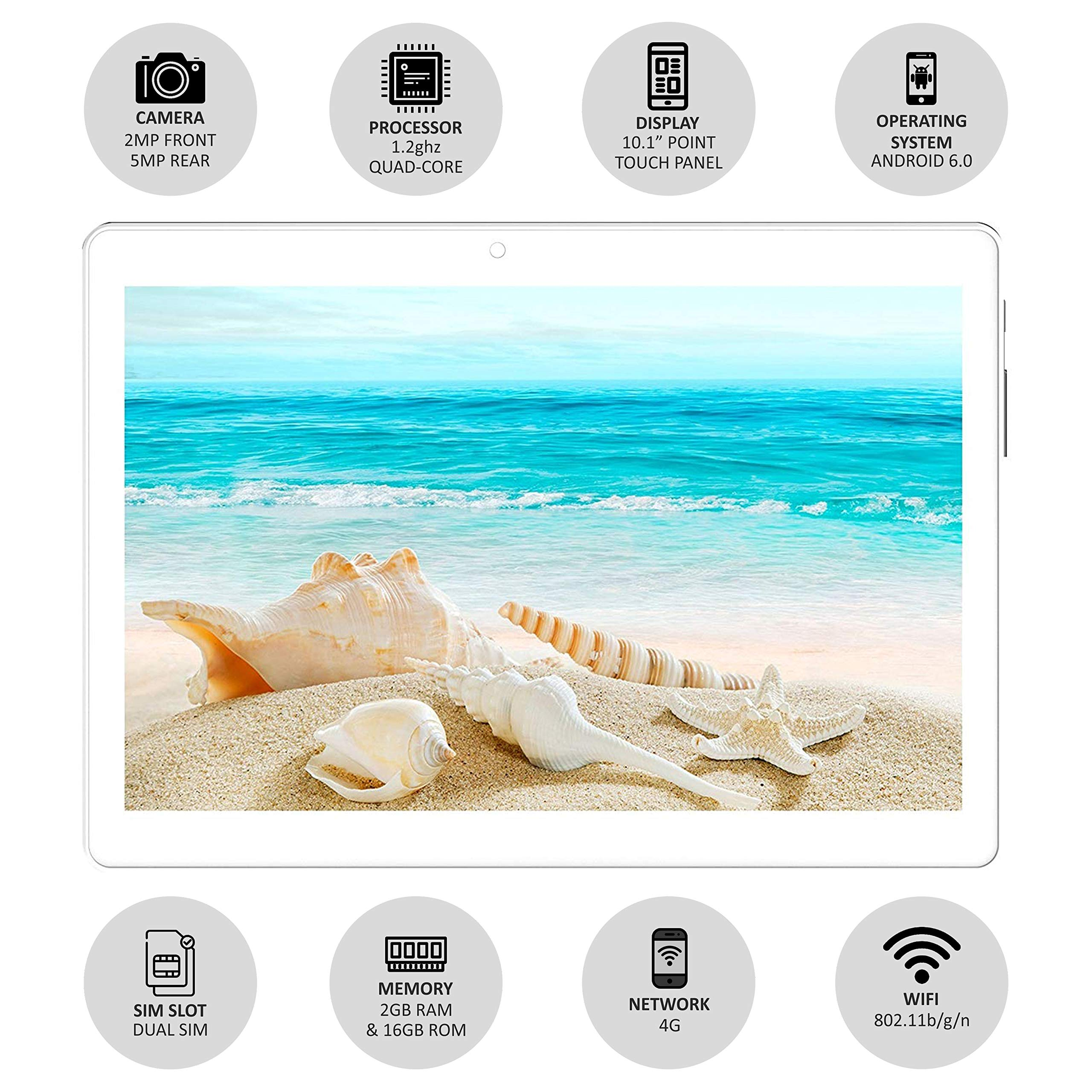 IKALL N10 Dual Sim 4G Calling Tablet with 10 inch Display (2GB, 16GB, White-Gold)