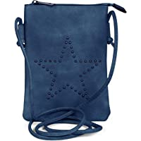 styleBREAKER Mini Bag 02012235 Sac à bandoulière avec rivets en forme d'étoile, bleu, taille unique