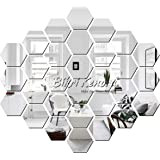 Bikri Kendra - Art BK223 Hexagon 30 Silver Acrylic Mirror Wall Stickers