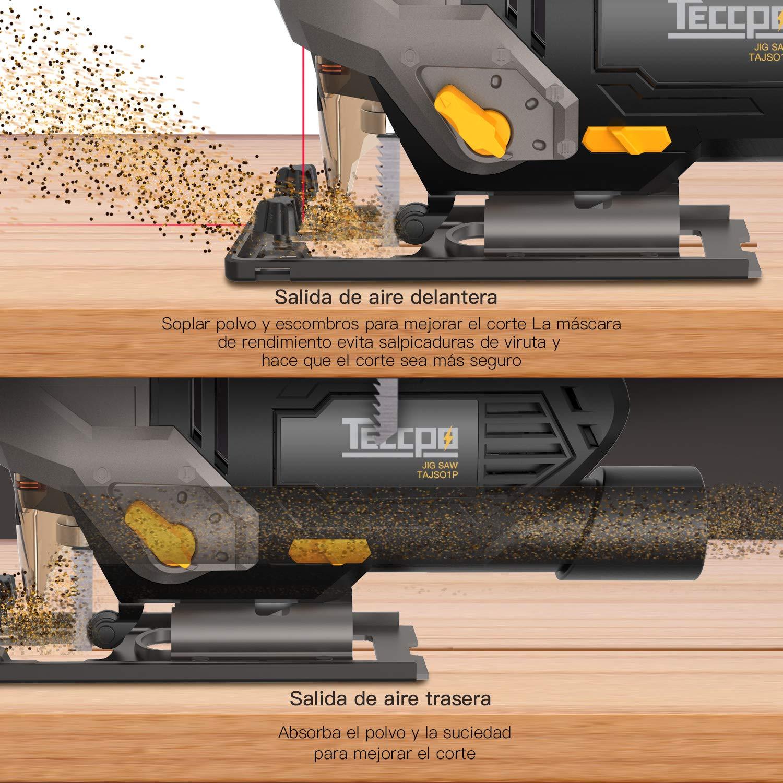 Alcanza 3000 SPM y Dispone de 6 Velocidades Variables y Opci/ón de Corte en Bisel de 0-45/° Sierra de Calar de 800 W Con un Potente Motor de Cobre 4 Juegos Orbitales