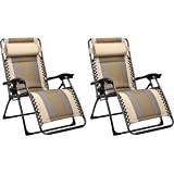 Amazon Basics Lot de 2fauteuils relax de jardin/de plage rembourrés, Marron clair 165 x 74,9 x 112cm