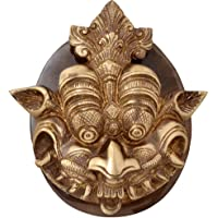 Two Moustaches Brass Dragon Face Door Knocker with Plate Base (Brown, Standard Size)
