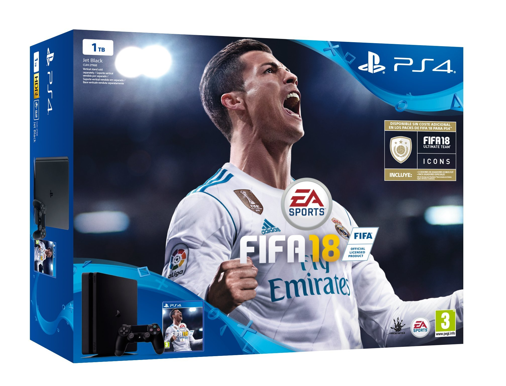 Sony, PlayStation 4 (PS4) – Consola de 1 TB + FIFA 18