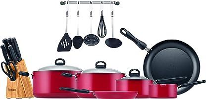 مجموعة ادوات طبخ 22 قطعة من الالمونيوم المضاد للالتصاق من بريستيج PR20965- احمر