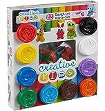 Warenhandel König Creative Kids Knete-Set 10 Farben und 12 Förmchen 550 g Knetmasse Modellierknete Softknete