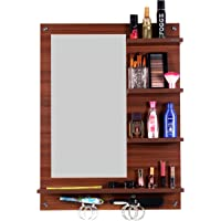 Madhuran Ratna Wall Mounted Engineered Wood Dressing Table Mirror with Shelf Classic Walnut Color