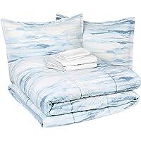AmazonBasics 8-Piece Comforter Bedding Set, King, Blue Watercolor, Microfiber, Ultra-Soft