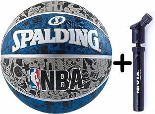 Spalding Basketball Graffiti Grey/Blue Combo ( Spalding NBA Graffiti Basketball, Grey/Blue + Nivia Air Ball Pump)