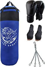 Byson Boxing Set for Men and Adult Strong and Rough (36 inch) Punching Bag with Boxing Gloves and Chain and Hand wrap Gloves (Heavy Bag)