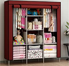 House of Wax Portable Wardrobe Rack Cabinet Collapsible Clothes Storage Rack DIY Red Colour