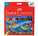 Faber Castell Water Color Pencils with Paint Brush - Pack of 24 (Assorted)