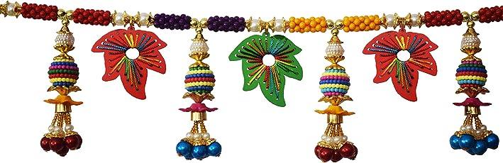 "REPTUM Decor Traditional Multi Zula Pearl Beads Handmade Bandarwal for Door Hanging Toran for Door, Traditional Bandarwal for Door, 37"" inch Length"