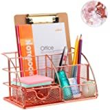Desk Organizer with Drawer, Rose Gold Color, Storage Compartment and 4 Upright Sections, Compact Metal Office Organizer, Draw