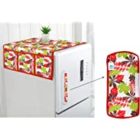 DECOTREE® Combo Set of Cotton Fridge Top Cover with 6 Pockets and Cotton Fridge Handle Cover (Red, 2 Pcs Set)