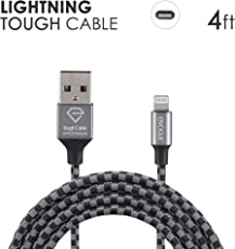 eVOGUE Luxury & Tough 4ft Long (1.2m) Ballistic Nylon Fabric Braided 2.4 A Fast Charging and Sync Lightning Cable for iPhone iPad Air iPad Mini