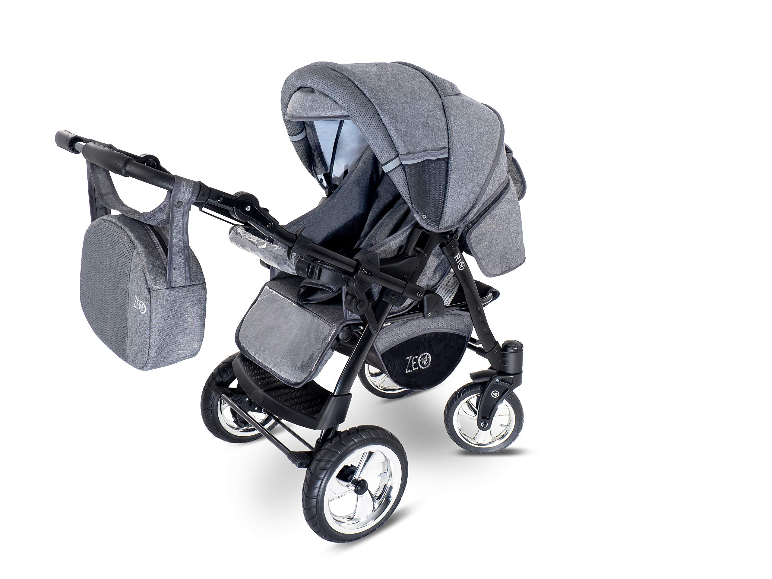 Baby Pram Zeo Rio 3in1 Set - All You Need! carrycot Gondola Buggy Pushchair car seat (R3) Zeo 3 in 1 combination stroller complete set, with reversible handle to the buggy, child car seat or baby carriage Has 360 ° swiveling wheels, two-fold suspension, four-stage backrest, five-position adjustable footrest and a five-point safety belt The stroller can be easily converted into other functions and easy to transport 6