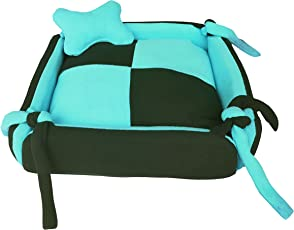 FLUFFY'S Dog/Cat Bed Square Shape Super Soft Foam Reversible (Sky Blue & Black, Small)