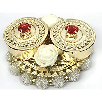 KRIWIN® Haldi Kumkum Box, Elegant, Handmade in Golden Metal, with Lids - Decorated with Flowers, Bells, Colored Crystals