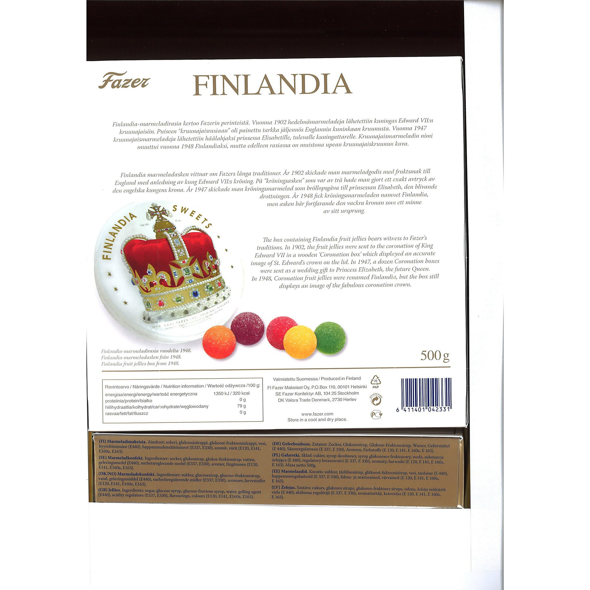 Fazer Finlandia Fruit Jellies Christmas Gift Box 500g