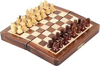 Pytho Handmade Wooden Chess Set with Magnatic Board and Hand Carved Chess Pieces | Size 7 X 7 Inches (Open), 7 X 3.5 Inches (Folded) | Pocket Travel Chess