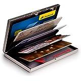 MyGadget Tarjetero Metalico con Bloqueo NFC - Slim Wallet Cartera Anti RFID - Porta Tarjetas de Credito con 6 Compartimientos