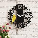 JaipurCrafts Designer Beautiful Tree and Bird Round Wood Wall Clock (Black, Yellow)