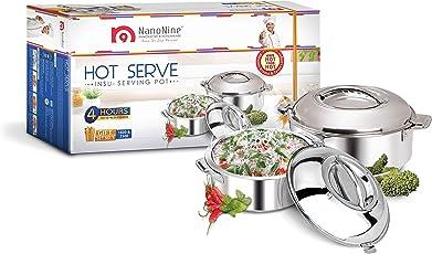 NanoNine Hot Serve Stainless Steel Casserole Set, 2-Pieces, Silver