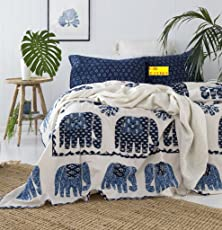 FAB NATION Blue Elephant COTTON Double Bedsheet with 2 Zipper Pillow Covers (100% Cotton with Fade Resistant Colors)