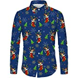 Sykooria Men Shirts Long Sleeve Casual Christmas Funky Printed Dress Shirts Slim Fit Daily Casual Party Fancy Floral Tops