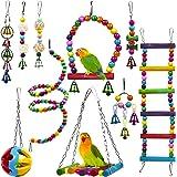 10 Juguetes para Pájaros para Loros, Periquitos, Pinzones, Periquitos, Agapornis, Ninfas, Canarios y Cacatúas - Colorido, Con